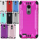 For LG Fiesta L64VL HYBRID KICK STAND Rubber Case Phone Cover +Screen Guard