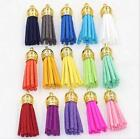 15 pcs Suede Tassel Gold Plated Charm Pendants Diy Jewelry Accessories 38 mm Hot