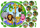 EDIBLE JUNGLE ANIMALS BABY'S 1st BIRTHDAY PERSONALISED CAKE CUPCAKE ICING TOPPER
