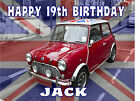 EDIBLE CLASSIC BRITISH MINI SPORTS CAR UNION JACK DAD BIRTHDAY ICING CAKE TOPPER