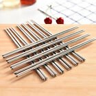 5/10 Pairs Reusable Chopsticks Metal Korean Chinese Stainless Steel Chop Sticks