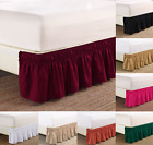 "NEW 1PC ELASTIC ALL AROUND STYLE BEDDING DRESSING BED SOLID SKIRT 14"" DROP FULL image"