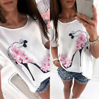 Fashion Women Tops Short Sleeve Shoes Floral Casual Summer T-shirt Blouse Loose
