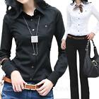 Office Career Winter Button blouse Womens Casual Cotton Shirt Top Size 6-12