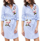 New Ladies Floral Embroidered Dress Long Sleeve Casual Striped Long Shirt Dress