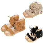 New Womens Open Toe Flats Suede Sandal Ankle Strap Lace Up Shoes Tassel Casual