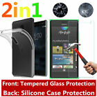 Shockproof Silicone Protective Clear Case Cover + Tempered Glass For Nokia