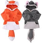 USA Toddler Kid Baby Boy Girl Warm Outerwear Jacket Coat Hooded Animals Clothes