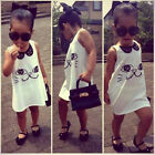 Sleeveless Baby Girls Kids Sequins Dress Casual Party Cartoon Skirts age 2-7Y US
