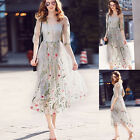 New Womens Elegant Embroidered Floral Long Sheer Tunic Embroidery Mesh Dress