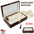 12 Watch Display Wood Case Clear Top Jewelry Organizesr Storage Boxes Gifts