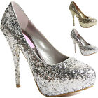 WOMENS LADIES MID HIGH HEEL STILETTO PLATFORM COURT WORK PARTY SHOES PUMPS SIZE