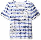 ALFRED DUNNER® S-XL Iris Striped Knit Top w/ Embroidered Flowers NWT $54
