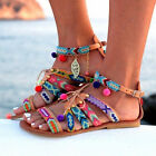Ethnic Style Women Sandals Gladiator PU Leather  Flat Shoes Pom-Pom Sandals K