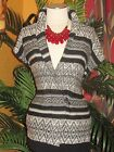 CHAP'S NWT XL EXTRA LARGE $79  womens sweater cover duster black white stripes