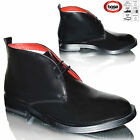 Mens Real Leather Lace Up Hi Shine Smart Casual Chelsea Biker Boots Shoes Size