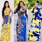 Ethnic Womens Floral Printed Maxi Long Dress Cocktail Summer Party Sundress 2017
