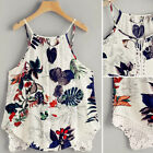 Women Printed Lace Casual Camisole Strappy Vest Sleeveless Shirt Tank Top Blouse
