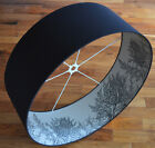 XXX LARGE Handmade Black Cotton Lampshade Lined with Thistle Wallpaper