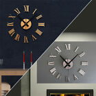 Large DIY Wall Clock 3D Sticker Metal Big Watches Home Decor Living Room