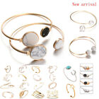 Fashion Women Gold Silver Punk Cuff Bracelet Bangle Chain Wristband Jewelry Set