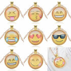 New Women's Gold Smile QQ Expression Dome Round Pendant Alloy Necklace Jewelry