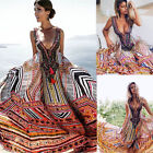 Vintage Women's Boho Floral V-Neck Long Maxi Dress Summer Beach Sundress