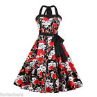 50s 60s ROCKABILLY DRESS Skull Print Swing Pinup Retro Housewife Party Dress