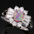 Alluring Sun Circle Pink Fire Opal White Gems Silver Rings Size 6 7 8 9 T1012