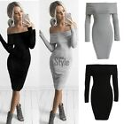 Women Off Shoulder Long Sleeve Bodycon Bandage Evening Cocktail Party Dress TUZA