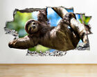 Wall Stickers Sloth Animal Tree Cool Living Smashed Decal 3d Art Vinyl Room C408