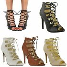 LADIES WOMENS HIGH HEEL LACE UP GLADIATOR CUT OUT STILETTOS SANDALS SHOES SIZE