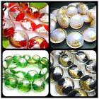20MM Handwork Gold Foil and Silver Foil Lampwork Glass Oblate Loose Beads 10PCS