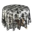 Halloween Skull Pattern Round Rectangle Tablecloth Room Party Decor Table Runner