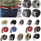 Mens D Ring Metal Buckle Military Waistband Jeans Casual Canvas Waist Belt Strap