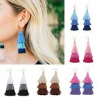 Women Three Color Tone Tassel Ear Hook Fringe Boho Dangle Drop Earrings Jewelry