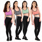 Womens Gym Workout Elasticated Waistedband Padded Crop Top And Leggings Set