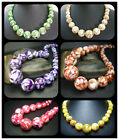"""8-18MM Brown, Green, Purple ... Mother Of Pearl Shell Tower Beads Necklace 18"""""""