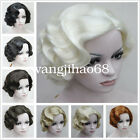 New Ladies Short wig Vintage Curly Wavy Wig Black/Brown/Blonde Wigs + wig cap