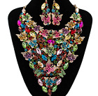 Luxury Women Wedding/Party set Jewelry Butterfly Rhinestone&Crystal necklace set
