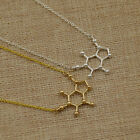 1 Pc Cool Caffeine Molecule Happiness Signal Necklace Chain Jewelry Simple