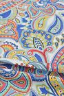 Funky Pure Cotton Fabric Blue Red Yellow Paisley on White Fabric