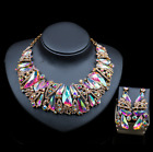 New bride Women Wedding/Party set Jewelry color Crystal choker necklace ear set