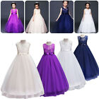 US Stock Chiffon Girls Kids Lace Bridesmaid Wedding Pageant Party Formal Dress
