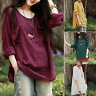 Girls Ladies Oversized Loose Casual Baggy Cotton Tops Linen T-Shirts Blouse Plus