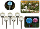 Solar Powered Colour Changing Crackle Ball Orb LED Garden Lights Stainless Steel