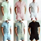 Stylish Men Short Sleeve Shirts Pants Romper One Piece Shorts Jumpsuit Playsuits