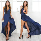 Women Formal Evening Party Cut Out High Side Slit Bodycon Club Long Dress V Neck