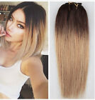 """10"""" Short Clip in Human Hair Extensions, Ombre Hairpieces Full Head 6pcs Pack"""