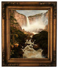 Church The Falls of Tequendama near Bogota Wood Framed Canvas Print Repro 11x14
